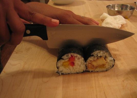 cutting veggie sushi