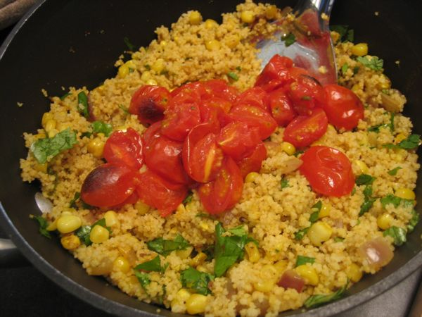 curried corn and tomato couscous