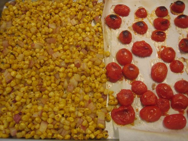 roasted corn and tomatoes